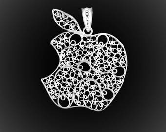 Apple pendant in silver embroidery