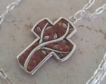 Custom Keepsake / Memorial Pendant or Necklace made from your Flower Petals or Pet fur or Cremains - TIMBER CROSS