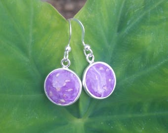 Custom Keepsake / Memorial Bead Earrings - made from your Flower Petals or Pet fur or Cremains - ROUND SPARTAN Earrings