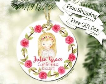 Girl Confirmation Gift| 1st Communion Gift | First Communion Ornament | Personalized Confirmation Gift | Religious Keepsake Gift | BC10