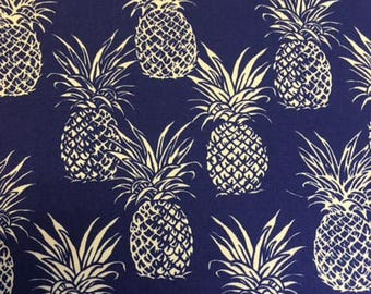 SALE!!Pineapples - Fabric by the yard - Hawaiian Pineapples - Cotton - Navy Blue