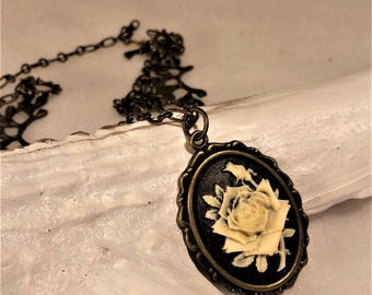 Floral Victorian style cameo necklace