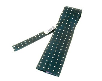 Vintage ROOSTER Necktie Mens Wide Square Bottom All Acetate Blue Tie with Printed Polka Dot designs by ROOSTER