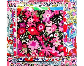 "Liberty Fabric 4"" x 4"" + 3"" x 3"" Scrap Bag Bundle Medium Bright Colours Small Mini Patchwork Quilting Pack Floral Cotton Tana Lawn"