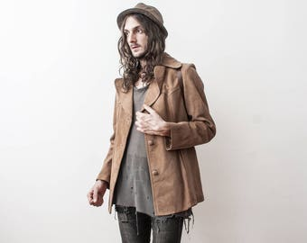 Suede Leather Jacket 1970s Vintage Blazer Medium Summer Jacket Boho Casual