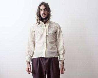Cream Embroidered Shirt 60s Broidery Shirt Long Sleeve Hippie Boho Womens Shirt
