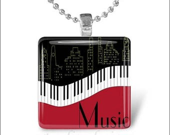 10% OFF JUNE SALE : Jazz Music Piano Keyboard City Skyline Glass Tile Pendant Necklace Keyring