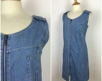 Vintage 1990s Denim Dress - 90s Blue Mini Dress - Sleevless shift Dress - Large - UK 16 / US 12 / EU 44