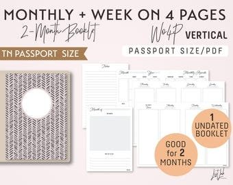 PASSPORT Size Monthly-Week on 4 Pages Vertical Printable Booklet Insert - Good for 2 Months