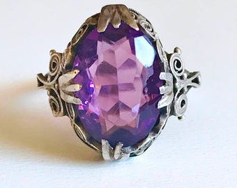 BDAY BONANZA SALE Antique Victorian Etruscan revival 800 silver cannetille filigree ring with amethyst colored glass size 7