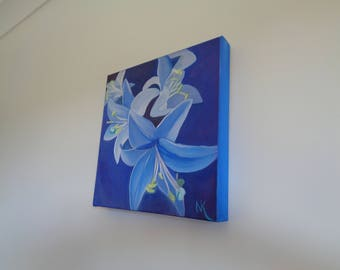 Lilies on Blue