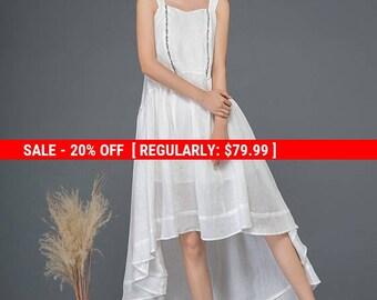 White linen dress, cute dress, summer dress, embroider dress, strap dress, wedding dress, asymmetrical dress, flare dress, loose dress C1162