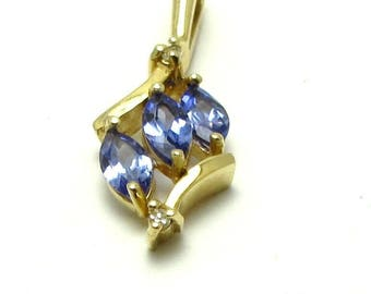 14k Yellow Gold Tanzanite and Diamond Pendant Charm