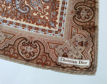 Vintage Christian Dior Silk Scarf, Designer Silk Scarf, Paisley Scarf, Hand Rolled Hems, Mint Condition
