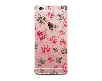 Ready To Ship - Roses Iphone 6/6s plus case with clear back, Pink and black flowers Transparent, Inexpensive gift for mother (1601)