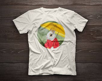Little bunny t-shirt under the rain, bunny tee, pet, love, rabbit, bunny, bunnies, kit, kitten, leveret, farm, farm pet, farm animal, rain