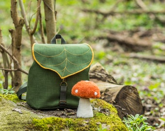 Army Green Leaf Mini Backpack, Women's Rucksack, Boho Festival Backpack, Waterproof Hipster Backpack , Toddler Backpack,