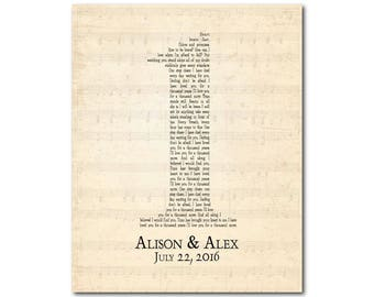 Any Song lyrics PRINT - Unique Anniversary Gift - Customized Gift for couple - First Year Anniversary gift - Paper gift - 1, 5, 10, 50 years