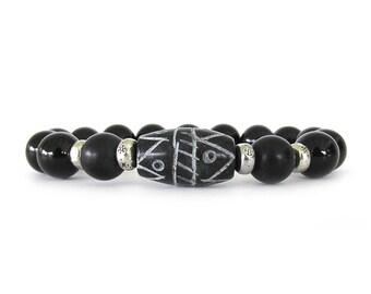 Black Onyx Bracelet - Black Onyx Jewelry - Women's Beaded Bracelet - Bead Bracelet - Gemstone Bracelet - Beaded Stretch Bracelet - W1811