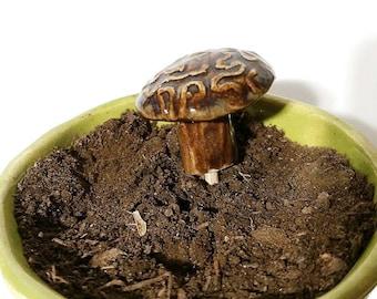 Wavy Textured Mushrooms, Ceramic Mushroom, Aquarium Accessory, Ceramic Garden Stake, Fairy Garden Accessory