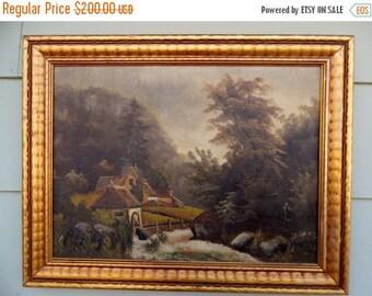 ON SALE Vintage, Oil Painting, Landscape, Cottage, Barn, Flowers, Floral, Original, Purple, Yellow, Green, Blue, Art, Artwork, Signed