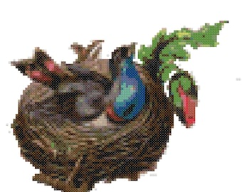 Bird in Nest Cross Stitch Pattern, Digital Download PDF, Nature Art