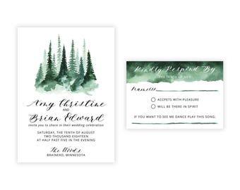 Woodland Wedding Invitation - PDF print at home