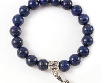 ON SALE Purple Lapiz Bead Bracelet with Sterling Silver Silver Fleur De Lis Charm Made in USA