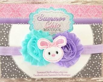 Easter Bunny Baby Headband, Infant Headband, Newborn Headband, Easter Bunny Headband, Seafoam and Lavender and Aqua Easter Headband