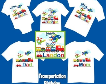 SALE Family Matching Transportation Airplane Plane Car Helicopter Train Birthday Party T-shirt Shirt Baby Bodysuit Mom Dad Kids Boy Girl Sib