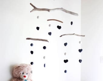 Driftwood Mobile with Felt Hearts and Balls -- Kinetic Baby Mobile -- Gray, White and Black -- Neutral Gender Newborn -- Ready to ship