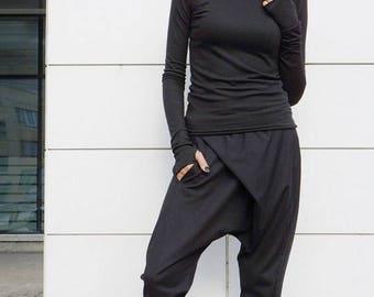 SALE Loose Casual Black Drop Crotch Harem Pants / Extravagant