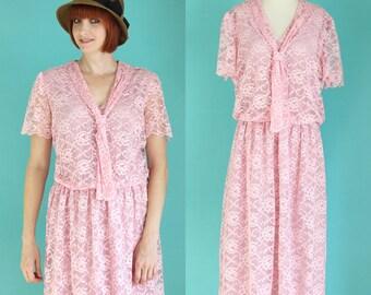 Vintage 80s Lace Dress - Gatsby Dress - 1920s Style Dress - Sheer Short Sleeve Dress - Neck Tie Midi Dress - Bridesmaid Dress - Size Large