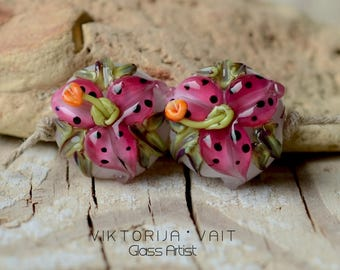 Handmade Lampwork Beads Glass Lilies Pink Flower Pair SRA Artisan Glass Beads White Ornated Pink Floral