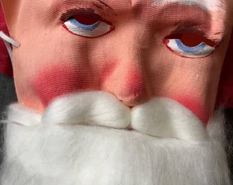 WOW Antique Santa Claus Gauze Mask NEW Old Stock With Hood Beard Primitive Christmas Decor Holiday Prop Halloween Display Xmas Collectible