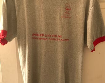 """Vintage 1980's Screen Stars """"Chiseled"""" Grey and Red Ringer Tee Men's L/XL"""