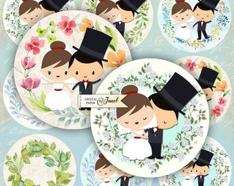 Wedding Couple - 2.5 inch circles - set of 12 - digital collage sheet - pocket mirrors, tags, scrapbooking, cupcake toppers