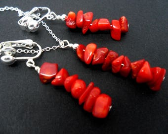 A hand made red coral chips necklace and clip on  earring set.