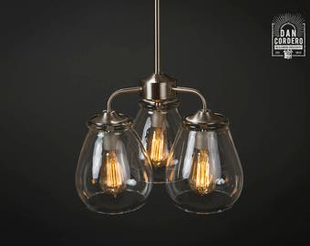 Edison Bulb Chandelier | Chandelier | Light Fixture | Brushed Nickel | Dining Room  | Entryway Light | Pendant Light | Light | Pear Shade