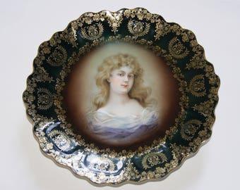 Vintage Royal Vienna ZEH SCHERZER ZS And Co Porcelain Portrait Plate Artist Signed Gracioga
