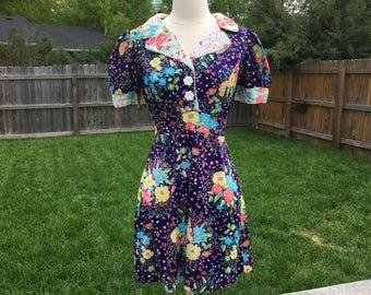 1960's Floral Mix Secretary Dress (9)