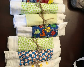 Burp cloths, cloth diapers