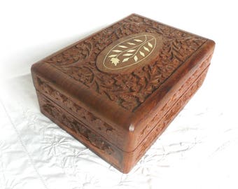 Carved wooden box - hand carved Indian box - carved rosewood box - inlaid rosewood box - vintage Indian carved rosewood box