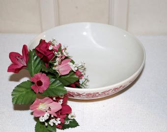 "Carefree True China by Syracuse  - ""Mayflower"" - Vegetable Bowl - White Background - Red Patterned Edge - Restaurant-ware"