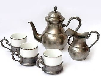 SALE Vintage Pewter Coffee Pot Set with Creamer and 3 Cups,Italian Coffee Pot Serving Set,Espresso Serving Set,retrò tableware