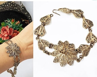 SALE Vintage Italian Filigree Flower Bracelet Art Deco Silver Coloured Filigree Bracelet Ethnic Bracelet Boho Style Bracelet