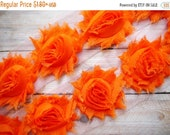"""ON SALE 30% OFF 2.5"""" Shabby Rose Trim- Orange Color- Chiffon Trim - Orange Shabby Rose Trim - Hallowee Flowers - Hair Accessories Supplies"""