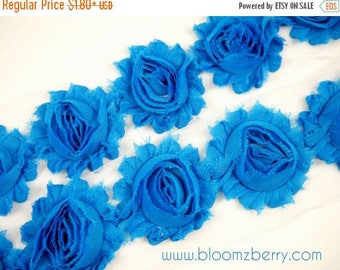 "Summer SALE 10% OFF 2.5"" Shabby Rose Trim- Dark Turquoise/Sky Blue Color - Chiffon Trim - Hair Accessories Supplies"