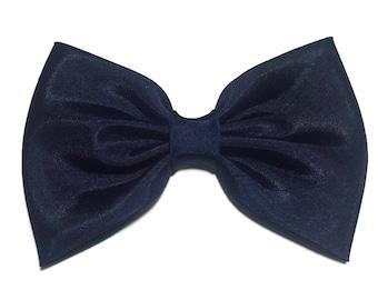 Navy Blue Hair Bow, Shantung Hair Bow, Large Hair Bow, Handmade Hair Bow, Girls Hairbow, Bows For Girls, Kawaii  Bow, Navy Bow Tie STG004