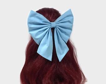 Blue Ariel Cosplay Hair Bow, Little Mermaid Hair Bow, Fabric Handmade Bow, Light Blue Bow, Bow For Girls, Kawaii Bow, Ariel Bow ELwT036